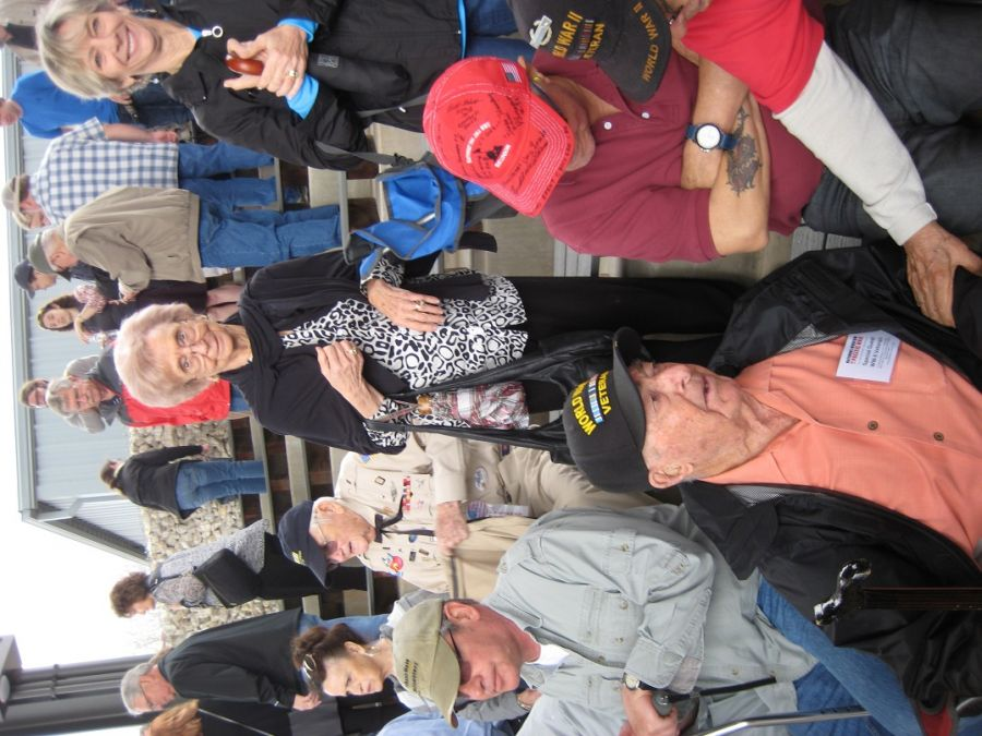 Mr. Karcher and family at the WW II Nimitz Pacific War re-enactment weekend.  He was honored as one of 12 WW II Veterans who attended that weekend. - Judith Colleen Canion